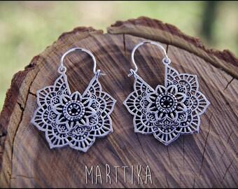 Silver earrings. mandala Flower brass earrings. Tribal jewelry. Gypsy.