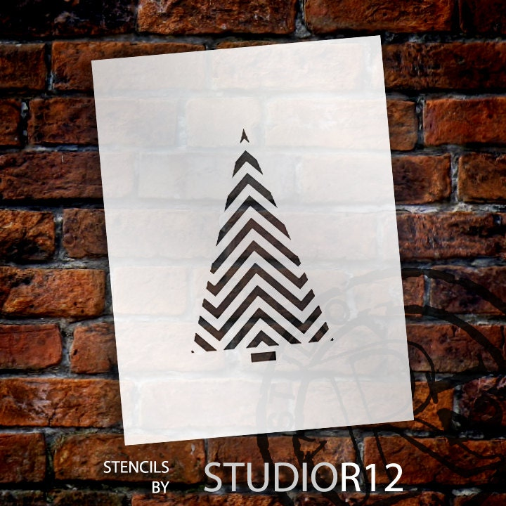 Christmas Shapes Stencil - Chevron Pattern Tree - Select Size - STCL1557 - by StudioR12