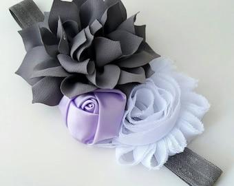 Gray & Lavender Newborn Headband - Lavender Birthday Theme - Lavender Cake Smash - Gray Headband - Fancy Headband - Shabby flower Headband