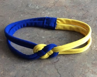 Bright Yellow and Royal Blue Sailor Knot Headband, Down Syndrome Awareness Jersey knit Stretch Headband - Choose Size