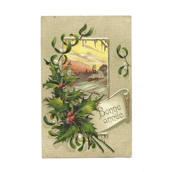 Carte postale ancienne illustr e carte no l illustration - Le houx porte bonheur ...