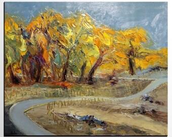 Abstract Painting, Abstract Art, Autumn Landscape Painting, Large Art, Original Painting, Wall Art, Tree Art, Heavy Texture Art, Canvas Art