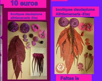 2 lots customizations of 24 items leather feathers Cabochons