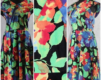 Vintage 1980s Floral Boho Tea Summer Festival Dress Party Prom Wedding Cotton 10