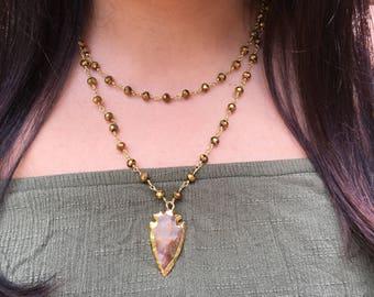 Gold Beaded Arrowhead Necklace
