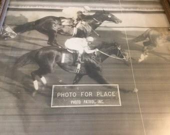 Vintage horse racing photo finish photograph