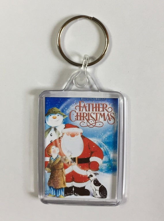 Christmas Movies Father Christmas Keyring Keychain available in Blue Red White or Clear connectors