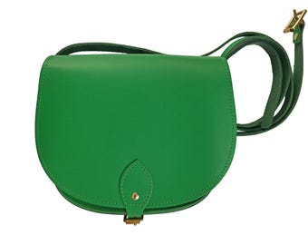 Bright Green Leather Saddle Bag - Handmade In Uk - Green Bag - Green Saddle Bag - leather saddle bag