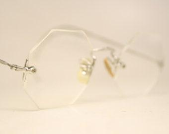 Small Antique Silver Tone Rimless Eyeglasses