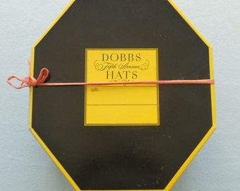 Dobbs hat box and hat.  1950's Dobbs Fifth Avenue Hat box.  Man's Challenger fedora size 7 1/2.  Vintage 1950's Dobbs Hat box.