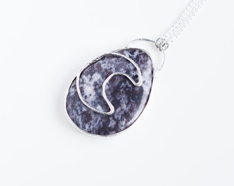 Jasper moon necklace // Nickelfree//