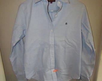 NOS Etienne Aigner button down oxford blue woman's shirt Size 6