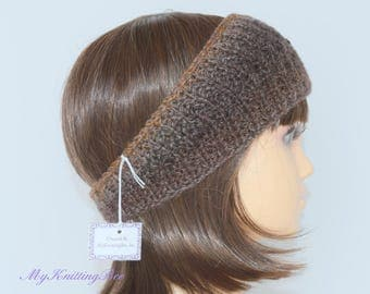 Hand Knit Ear Warmer in Multi Color Brown