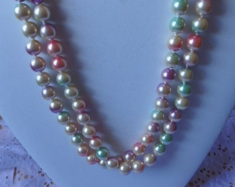 Vintage Joan Rivers Necklace Multi Colored Beaded Strand/String Necklace Glass Beads Necklace Costume Jewelry