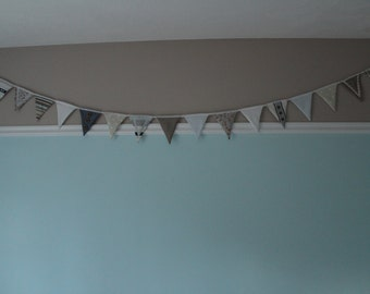 blue brown bunting 20 feet nursary bunting wedding bunting party bunting flags decor wall hanging