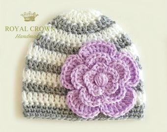 Baby Hat,Baby Girl Hat,Newborn Girl Hat,Infant Girl Hat,Crochet Baby Hat,Baby Flower Hat,Baby Girl Beanie,Baby Beanie,Gray White,Orchid