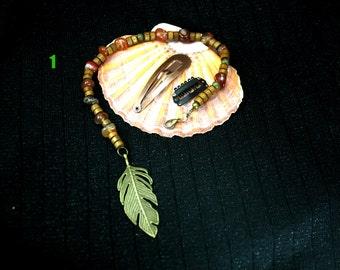 Pirate hair beads/Long Pirate hair beads/pirate jewelry/long boho hair jewlery/jack sparrow costume beads/long leaf and wood beads/boho