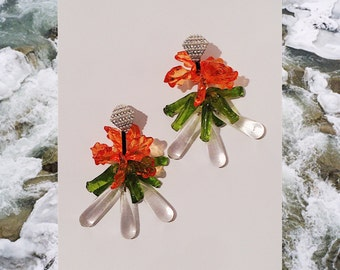 Colourful green orange glass crystal clip on earrings