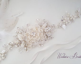 Floral Wedding Sash, Bridal Belt, Custom Wedding Belts and Sashes - Style 789.1