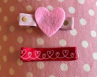 Hearts Hair Clip Set