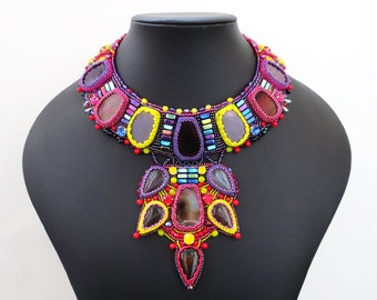 colorful statement necklace - agate necklace - tribal jewelry - tribal necklace - colorful jewelry - beaded necklace