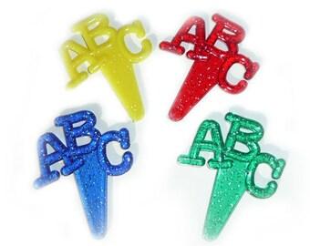 24 ABC Letter Alphabet #2  Cupcake Picks Cake Toppers Decorations School Teacher