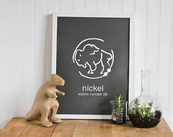 Periodic Table Chemistry Poster of Nickel, the perfect science gift for him or her