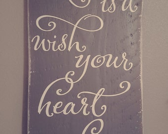 A Dream Is A Wish Your Heart Makes Wood Sign - Barnwood Sign - Wall Decor - Disney - Princess- Christmas - Gift -  Girls Room