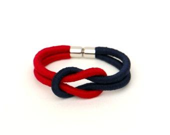 Knot Bracelet, Colorful Cotton Bracelet, Textile Bracelet, Fabric Knotted Bracelet, Fiber Bracelet, Colorblock Bracelet, Textile Jewelry