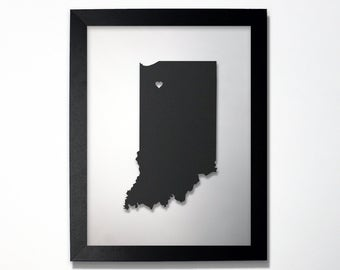Indiana Map / Laser Cut Map / Indiana State Art / Indiana Art / Framed State Map / Indiana Gift / Wedding Gift / Anniversary / Home Decor