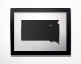 South Dakota Map / Laser Cut Map / South Dakota State Art / South Dakota Art / Framed State Map / South Dakota Gift / Wedding Gift / Decor