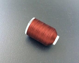 Vintage Gudebrod/Utica Silk Thread Spool, Copper Red, Size F, 185 Yards