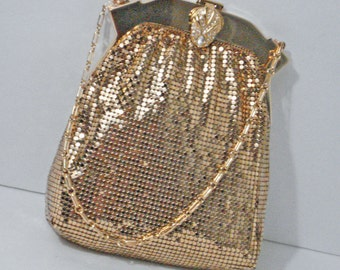 Golden Mesh Handbag Purse Whiting & Davis Co. Vintage Mint