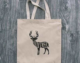 Deer - Wild and Free - 12oz Cotton Canvas Tote Bag