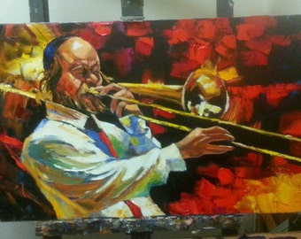 Musician Oil Painting /Saxophone/Oil Painting / Music wall art /Pallete Knife colorful Oil painting /israeli artist Gadi Dadon