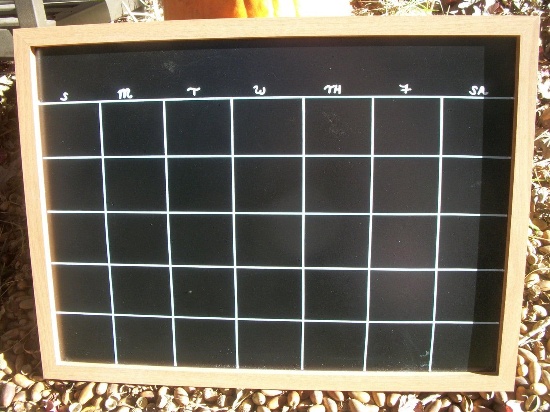Chalkboard Calendar Framed : Large chalkboard calendar wood framed monthly