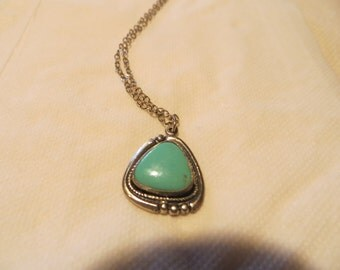 Turquoise and Sterling Pendant Necklace