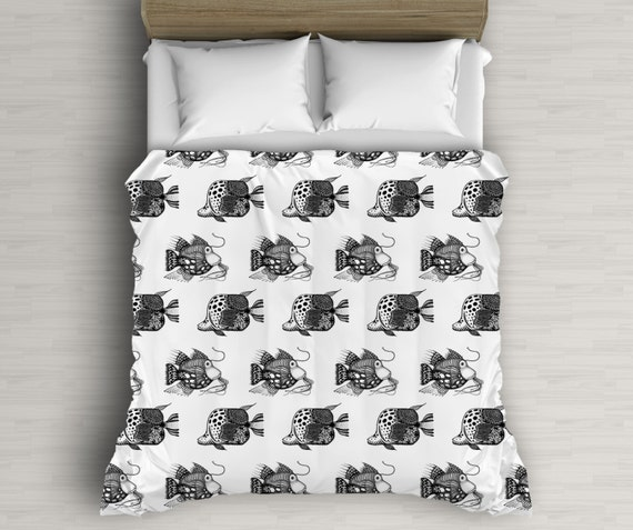 Fish Bedding, Black And White, Fish Pattern, Kids Duvet Cover, Twin Bed, Beach Bedding
