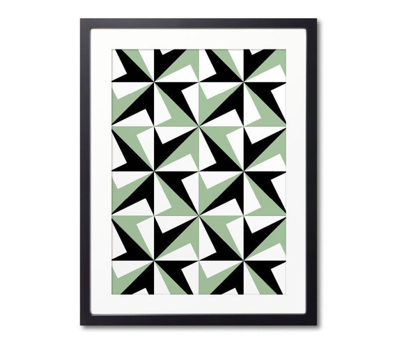 Geometric Wall Decor, Green And Black, Barcelona Tiles, Tile Design, Graphic Print, Home Decoration