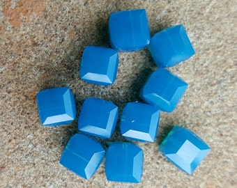 Swarovski 6mm Faceted Crystal Cube (5601) Bead - CARIBBEAN BLUE OPAL - Select 6 or 12 Beads