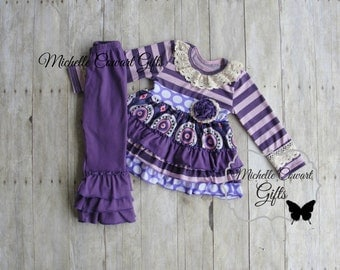 Purple, Outfit, Ruffle Pants, Girls Outfit, Toddler Outfit, 18M, 24M, 2T,  3T, 4T, 5 6 7 8 Matilda Jane, RTS, Fall, School, Thanksgiving