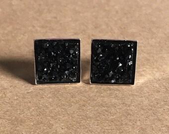 Black Square Druzy Earrings, Black Druzy Earrings, Faux Druzy Earrings