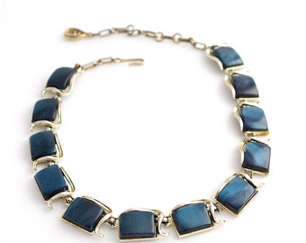 Vintage CORO Signed Necklace Dark Blue Choker Costume Jewelry 1950s Gold Tone