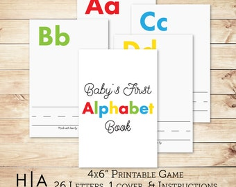 """Alphabet Game DIY Baby Shower Activity Game 4x6"""" Baby's First Alphabet Book, book baby shower activity, book themed baby shower"""