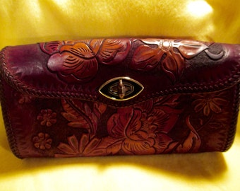 Vintage Western Hand Tooled Leather Clutch with detachable arm strap.