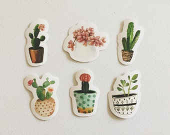 Cactus Stickers, Succulents Stickers, Cacti Plants Stickers, Botanical Decorative Stickers, Scrapbook Stickers, Planner Stickers