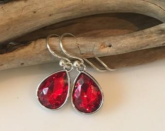 Crystal Earrings, Red glass Earrings,STERLING SILVER, Tear Drop Crystal Earrings, Gift Earrings, Dangle