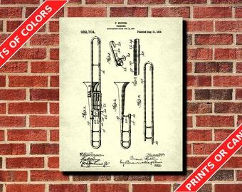 Trombone Patent Print, Trombone Blueprint Musician Gift Music Room Decor Musical Instruments Poster Orchestra Poster