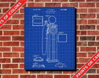 Antique Gas Pump Patent Vintage Gas Pump Blueprint Poster Man Cave Wall Art Print