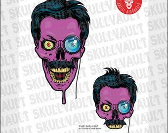 Comic Book Skull Vector Illustration - Mad Scientist